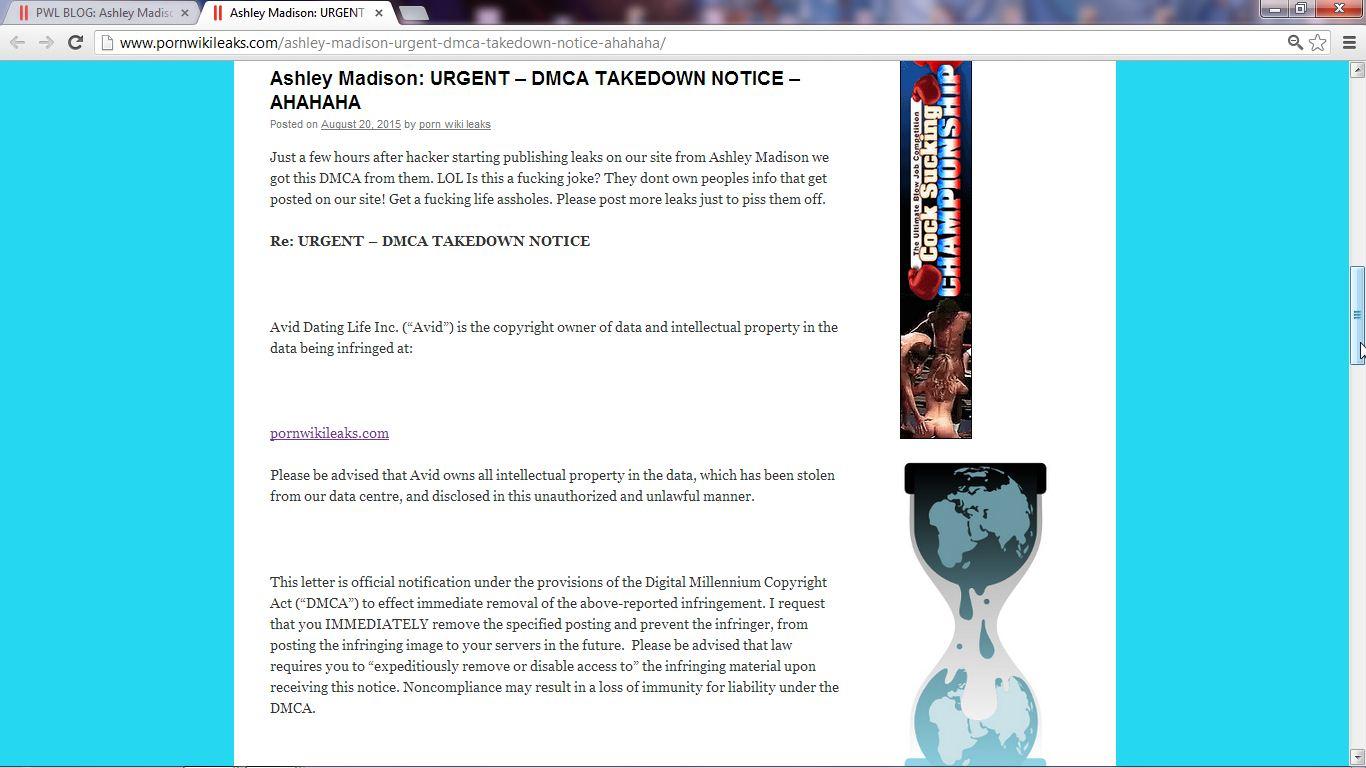 ashley madison sending bogus dmca takedown notices